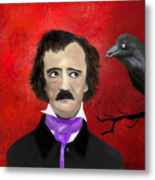 Edgar Allan Poe And The Raven Metal Print