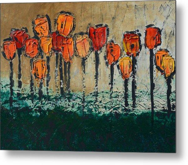 Edgey Tulips Metal Print