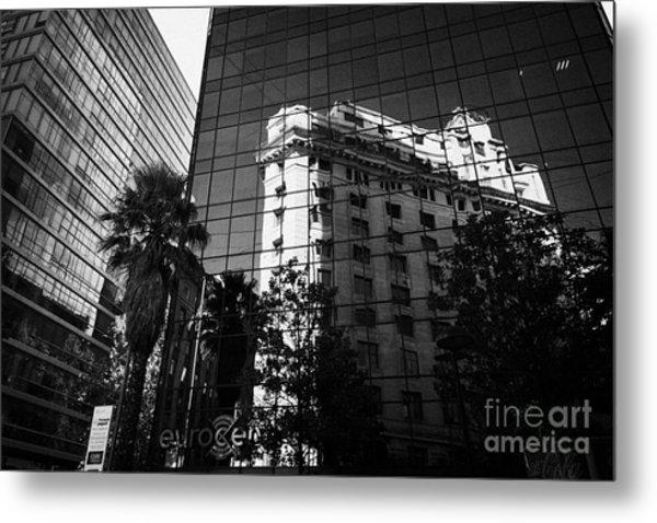 edificio ariztia building reflected in modern bank buildings in the financial district of Santiago Chile Metal Print by Joe Fox