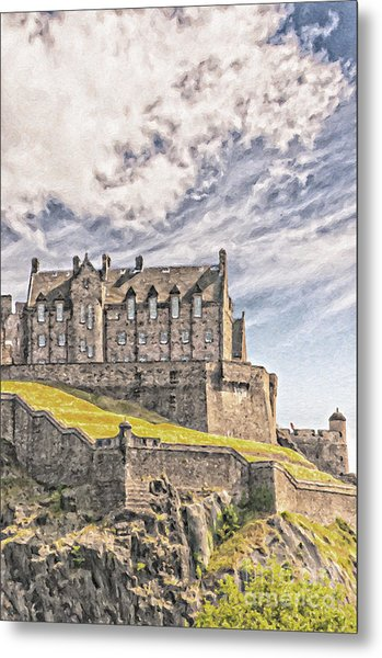 Edinburgh Castle Painting Metal Print
