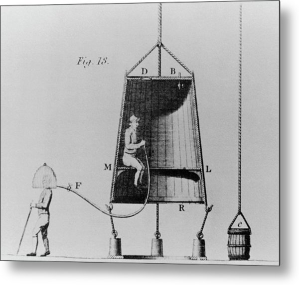 Edmond Halley's Diving Bell Of 1716 Metal Print by Science Photo Library