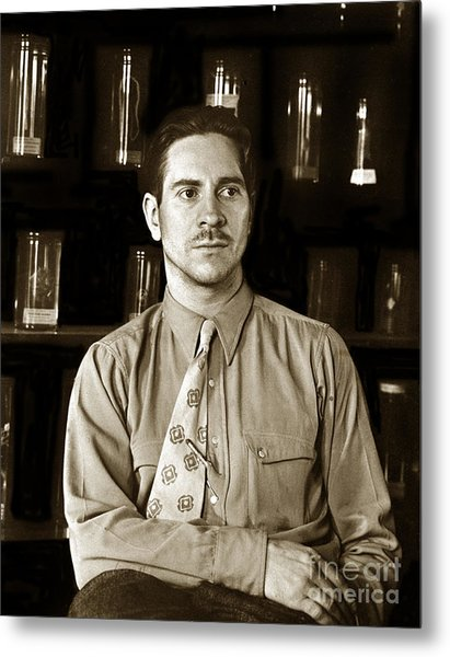 Edward F. Ricketts Nov. 1937 In His Laboratory With Specimens Bottles In Background Monterey  1897 1948 Metal Print