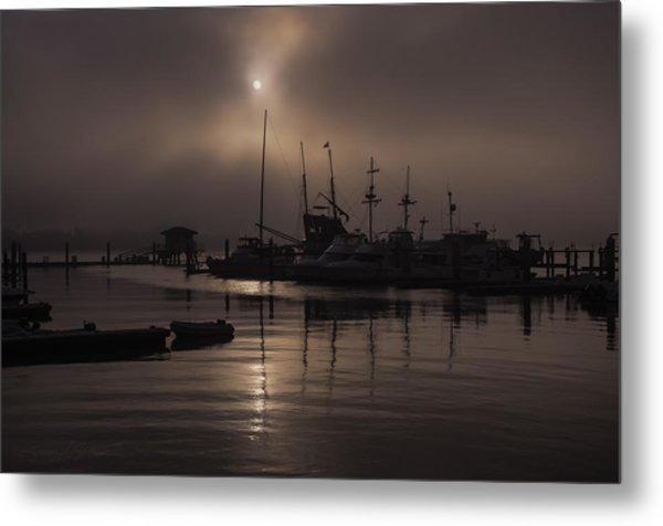 Eerie Morning Fog St. Augustine Marina Metal Print