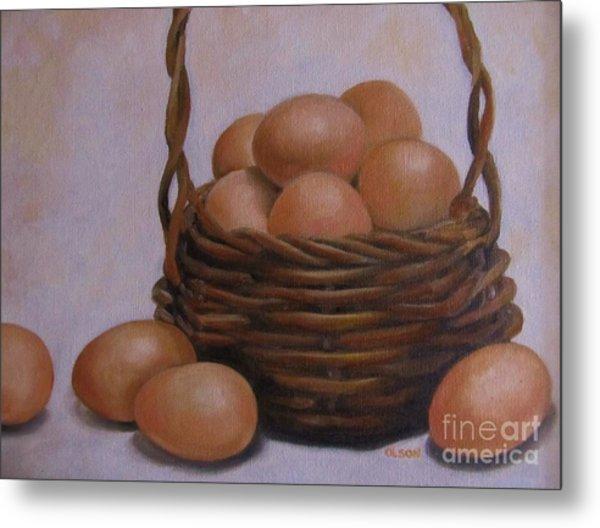 Eggs In A Basket Metal Print by Karen Olson