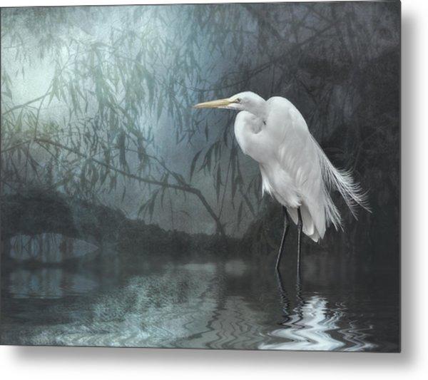 Egret In Moonlight Metal Print