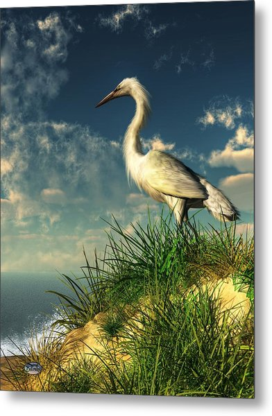 Egret In The Dunes Metal Print