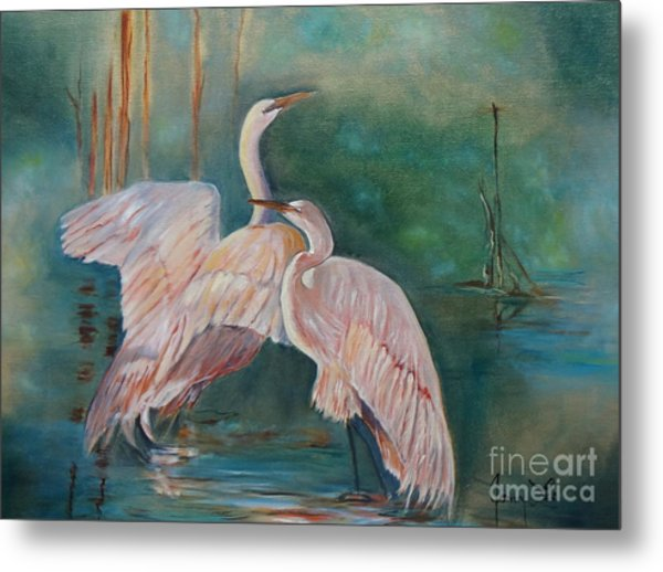 Egrets In The Mist Metal Print