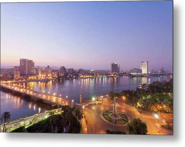Egypt, Cairo, View Of Bridge With River Metal Print by Westend61