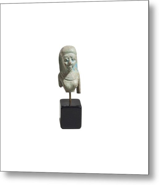 Egyptian Faience Bust Of A Lady Metal Print by Science Photo Library