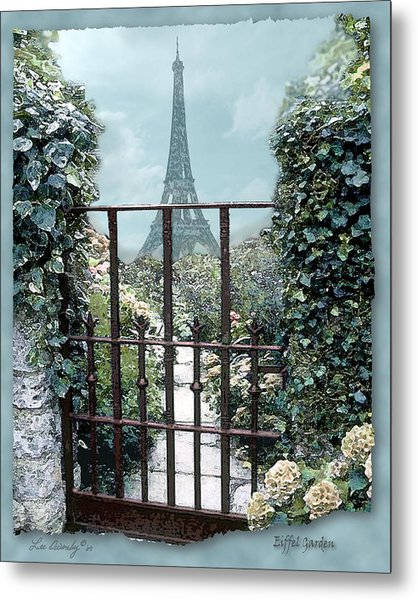 Eiffel Garden In Blue Metal Print