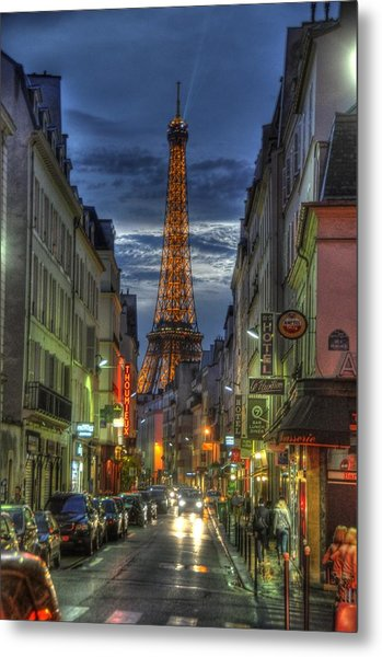 Eiffel Over Paris Metal Print