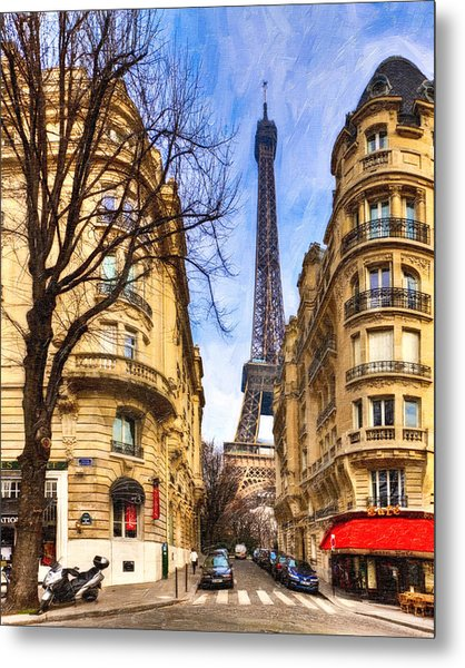 Eiffel Tower And The Streets Of Paris Metal Print