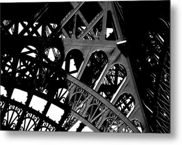 Eiffel Tower Bw Metal Print by Jacqueline M Lewis