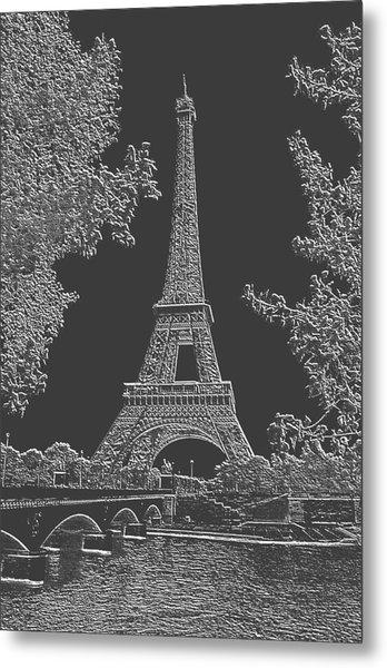 Eiffel Tower Charcoal Negative Image Metal Print by L Brown