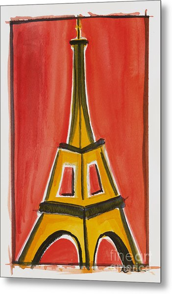 Eiffel Tower Orange And Yellow Metal Print