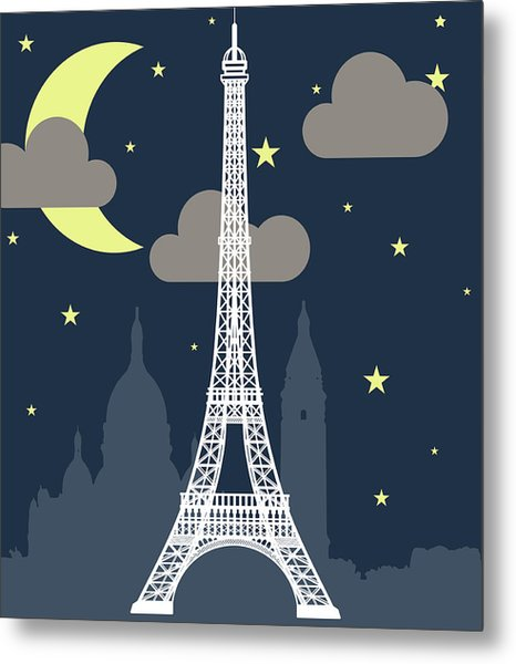 Eiffel Tower Over Night With Stars And Metal Print by Atypeek