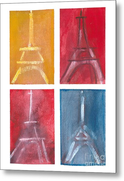 Eiffel Tower Paintings Of 4 Up Metal Print