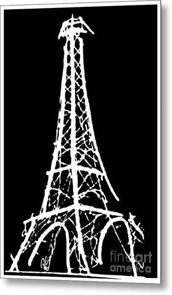 Eiffel Tower Paris France White On Black Metal Print