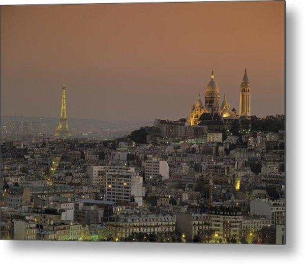 Eiffel Tower Sacred Heart Paris France Metal Print