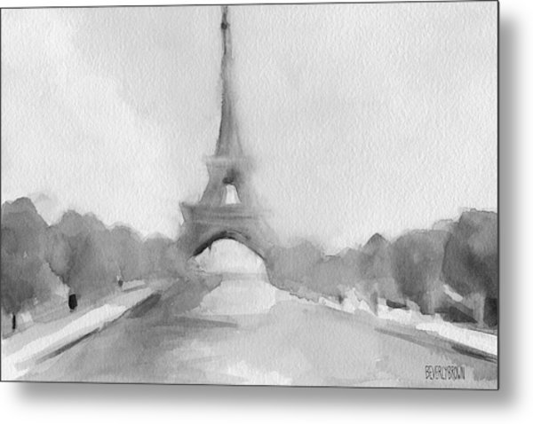 Eiffel Tower Watercolor Painting - Black And White Metal Print