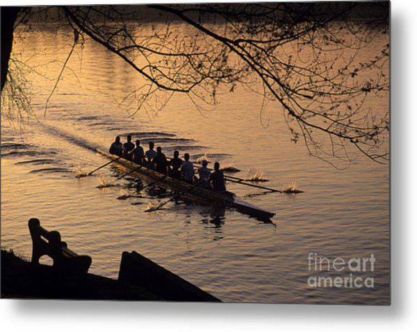 Eight Man Crew Rowing Along Montlake Cut  Metal Print