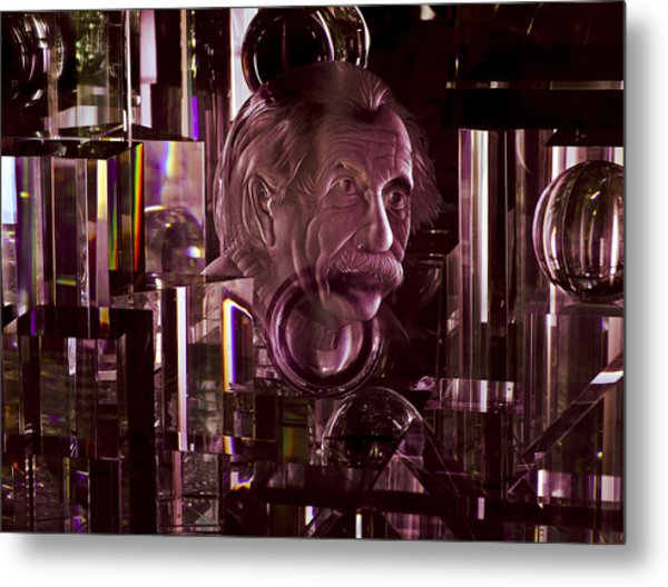 Einstein In Crystal - Purple Metal Print