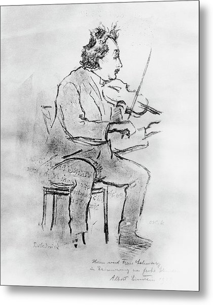 Einstein Playing The Violin Metal Print by Emilio Segre Visual Archives/american Institute Of Physics