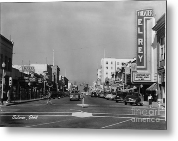 El Rey Theater Main Street Salinas Circa 1950 Metal Print
