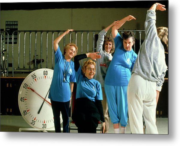 Elderly Women Attend An Aerobics Exercise Class Metal Print