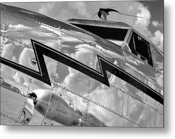 Electra Reflections In Black And White Metal Print