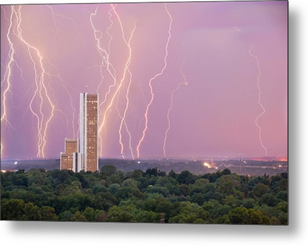 Metal Print featuring the photograph Electric Night - Cityplex Towers - Tulsa Oklahoma by Gregory Ballos