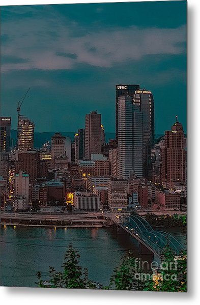 Electric Steel City Metal Print