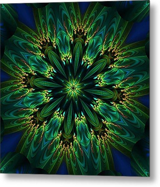 Elegance Green Kaleidoscope Metal Print