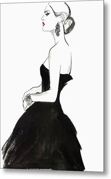 Elegant Haughty Woman Wearing Strapless Metal Print