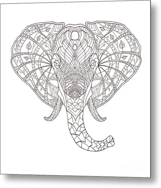 Elephant. Black And White Hand Drawn Metal Print