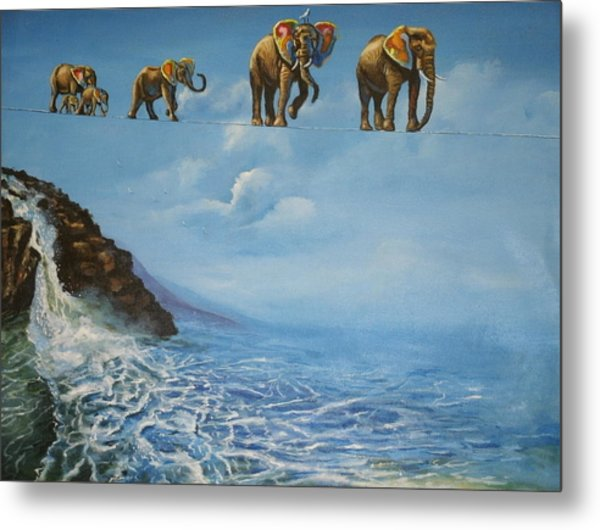 Elephant Family On A Tightrope Metal Print by Barbara Gray