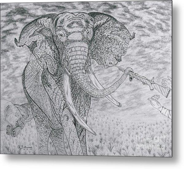 Elephant Gun Metal Print