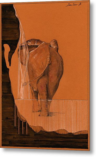 Elephant In River Metal Print