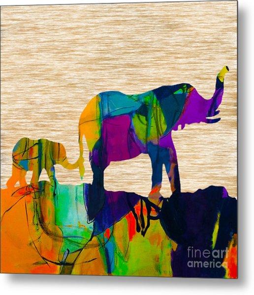 Elephant Journey Parent And Child Metal Print