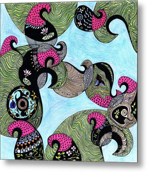 Elephant Lotus And Bird Design Metal Print