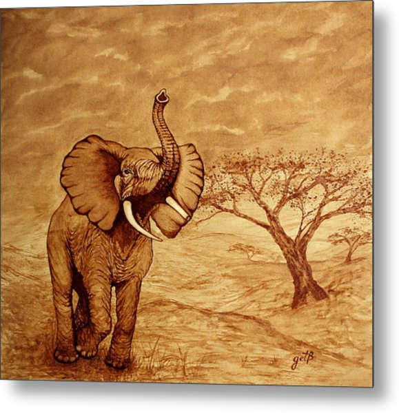 Elephant Majesty Original Coffee Painting Metal Print