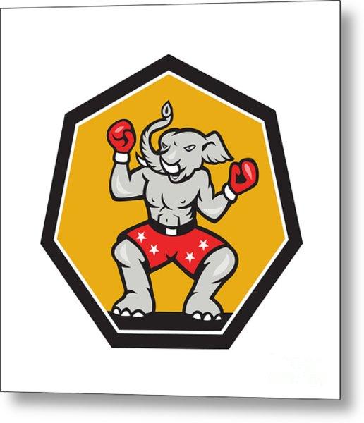 Elephant Mascot Boxer Cartoon Metal Print by Aloysius Patrimonio