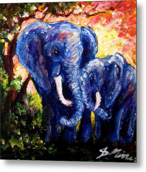 Elephant Mother Andduaghter Metal Print by Sebastian Pierre