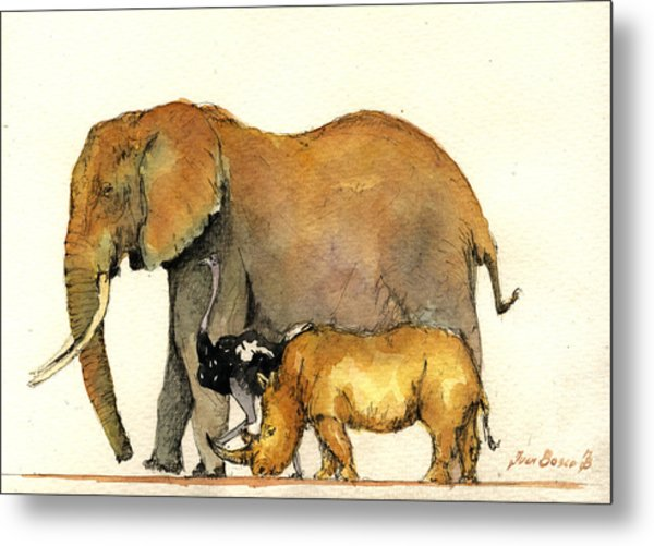 Elephant Ostrich And Rhino Metal Print