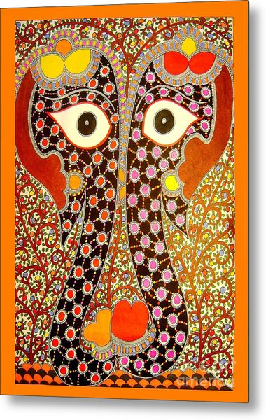 Elephant Pair-madhubani Paintings Metal Print