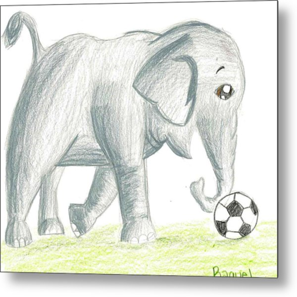 Elephant Playing Soccer Metal Print by Raquel Chaupiz