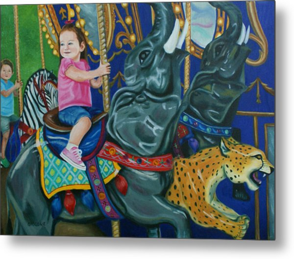 Elephant Ride Metal Print