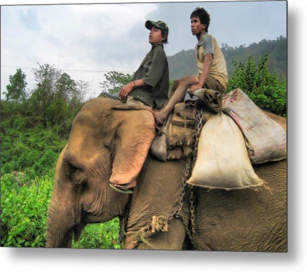 Elephant Rides Metal Print