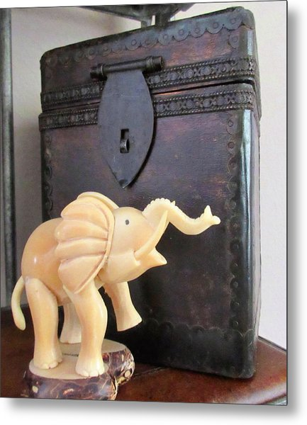 Elephant With Elephant Box Metal Print