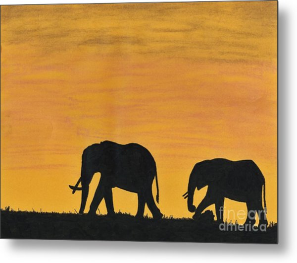 Elephants - At - Sunset Metal Print